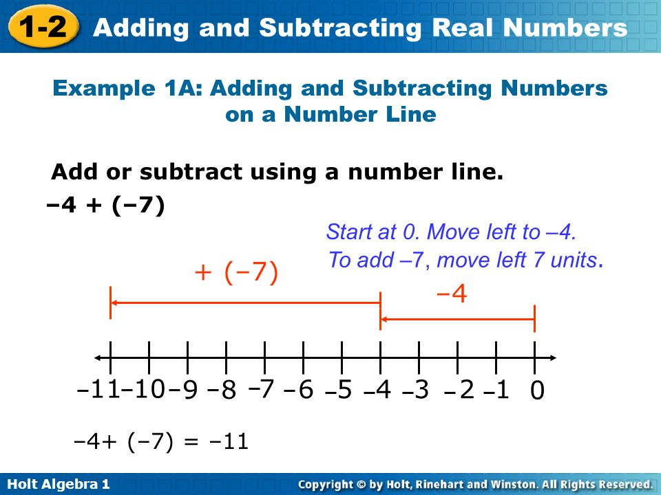 Holt Algebra 1 1-2 Adding and Subtracting Real Numbers Example 1A: Adding and Subtracting Numbers on a Number Line Add or subtract using a number line