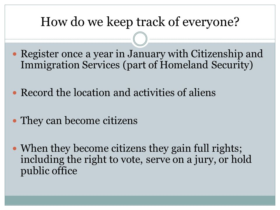How do we keep track of everyone? Register once a year in January with Citizenship and Immigration Services (part of Homeland Security) Record the loc