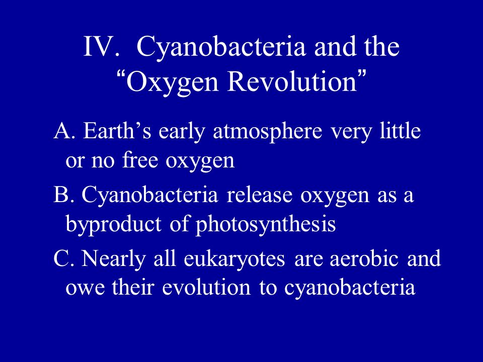 IV. Cyanobacteria and the Oxygen Revolution A. Earths early atmosphere very little or no free oxygen B. Cyanobacteria release oxygen as a byproduct of