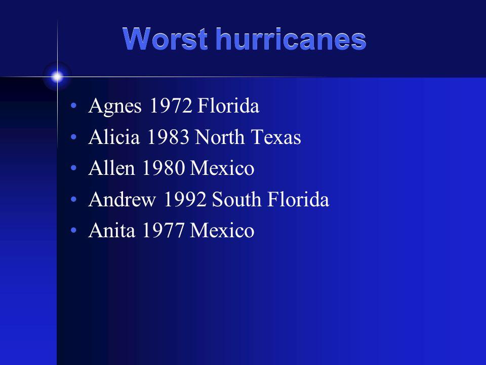 Worst hurricanes Agnes 1972 Florida Alicia 1983 North Texas Allen 1980 Mexico Andrew 1992 South Florida Anita 1977 Mexico