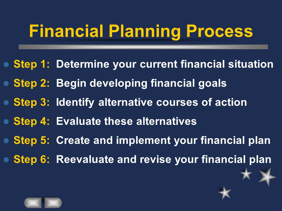 Financial Planning Process Step 1: Determine your current financial situation Step 2: Begin developing financial goals Step 3: Identify alternative co