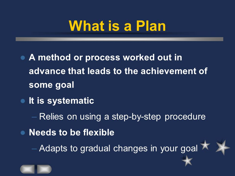 What is a Plan A method or process worked out in advance that leads to the achievement of some goal It is systematic –Relies on using a step-by-step procedure Needs to be flexible –Adapts to gradual changes in your goal