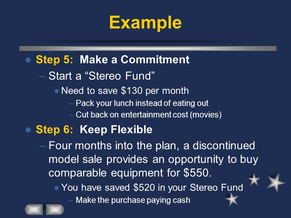 Example Step 5: Make a Commitment –Start a Stereo Fund Need to save $130 per month –Pack your lunch instead of eating out –Cut back on entertainment c