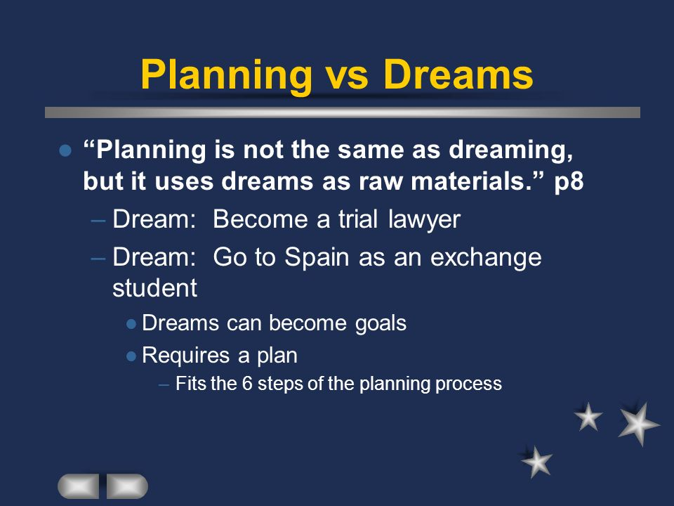 Planning vs Dreams Planning is not the same as dreaming, but it uses dreams as raw materials. p8 –Dream: Become a trial lawyer –Dream: Go to Spain as