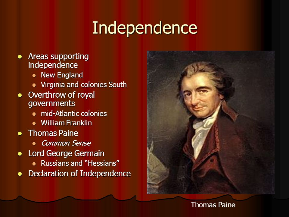 Independence Areas supporting independence Areas supporting independence New England New England Virginia and colonies South Virginia and colonies Sou