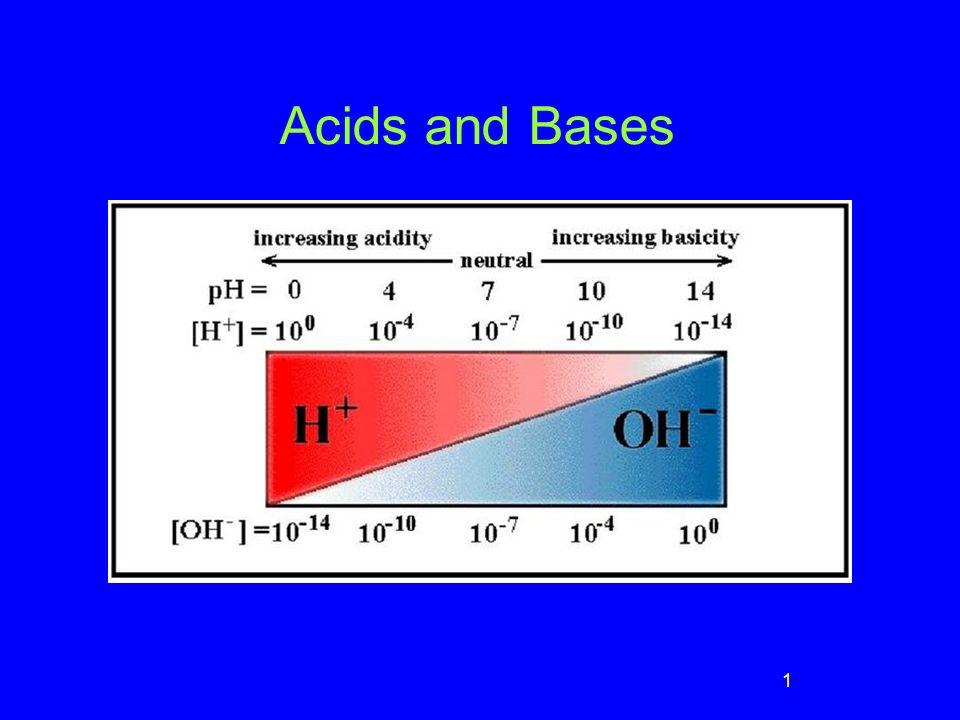 2 Arrhenius Acids and Bases Acids produce H + in aqueous solutions water HCl H + (aq) + Cl - (aq) Bases produce OH - in aqueous solutions water NaOH Na + (aq) + OH - (aq)
