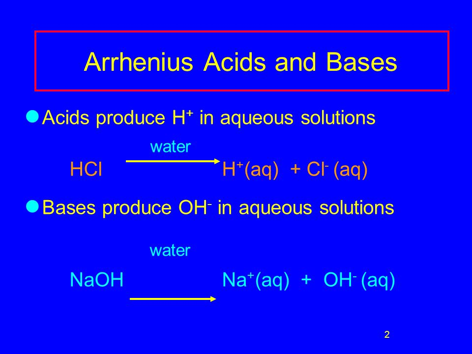 2 Arrhenius Acids and Bases Acids produce H + in aqueous solutions water HCl H + (aq) + Cl - (aq) Bases produce OH - in aqueous solutions water NaOH Na + (aq) + OH - (aq)