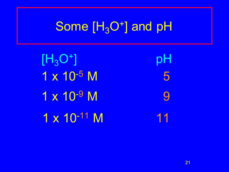 21 Some [H 3 O + ] and pH [H 3 O + ] pH 1 x 10 -5 M 5 1 x 10 -9 M 9 1 x 10 -11 M 11