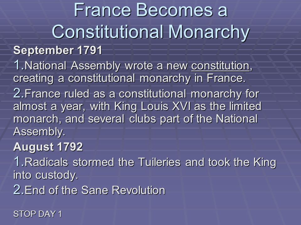 France Becomes a Constitutional Monarchy September 1791 1. National Assembly wrote a new constitution, creating a constitutional monarchy in France. 2