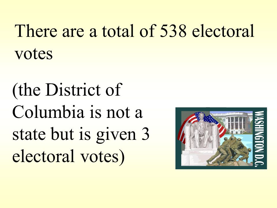 There are a total of 538 electoral votes (the District of Columbia is not a state but is given 3 electoral votes)