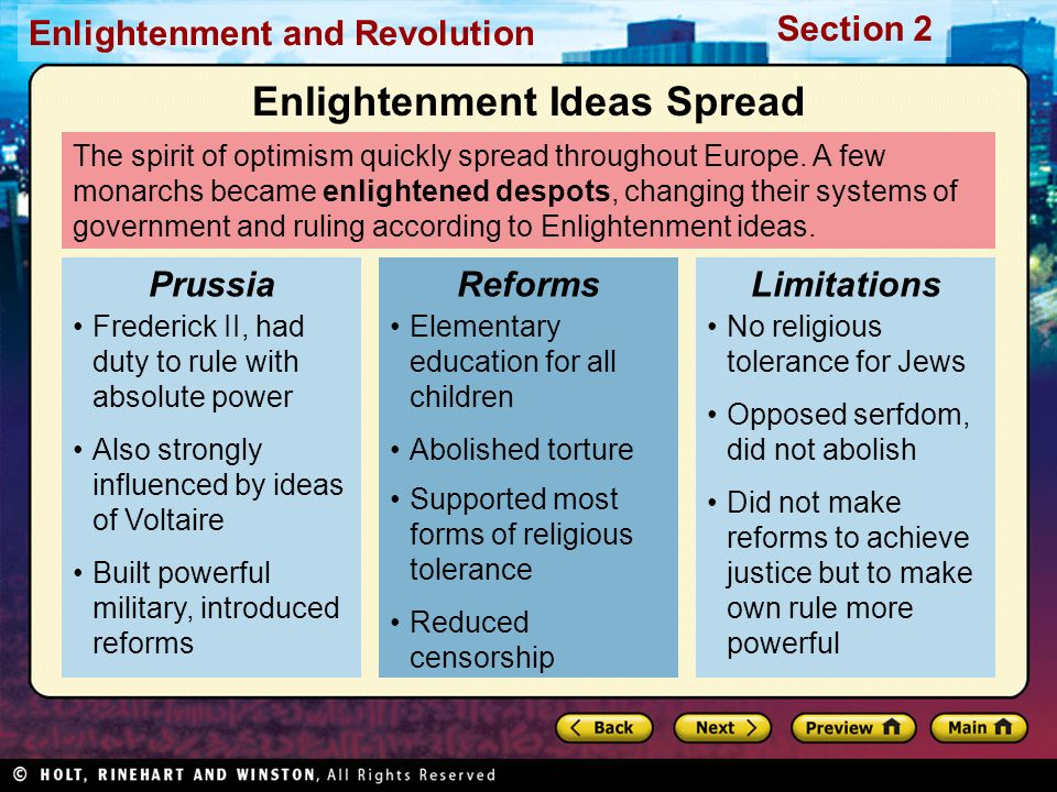 Section 2 Enlightenment and Revolution The spirit of optimism quickly spread throughout Europe. A few monarchs became enlightened despots, changing th