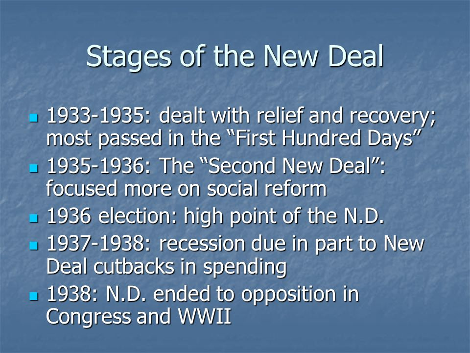 Stages of the New Deal 1933-1935: dealt with relief and recovery; most passed in the First Hundred Days 1933-1935: dealt with relief and recovery; mos