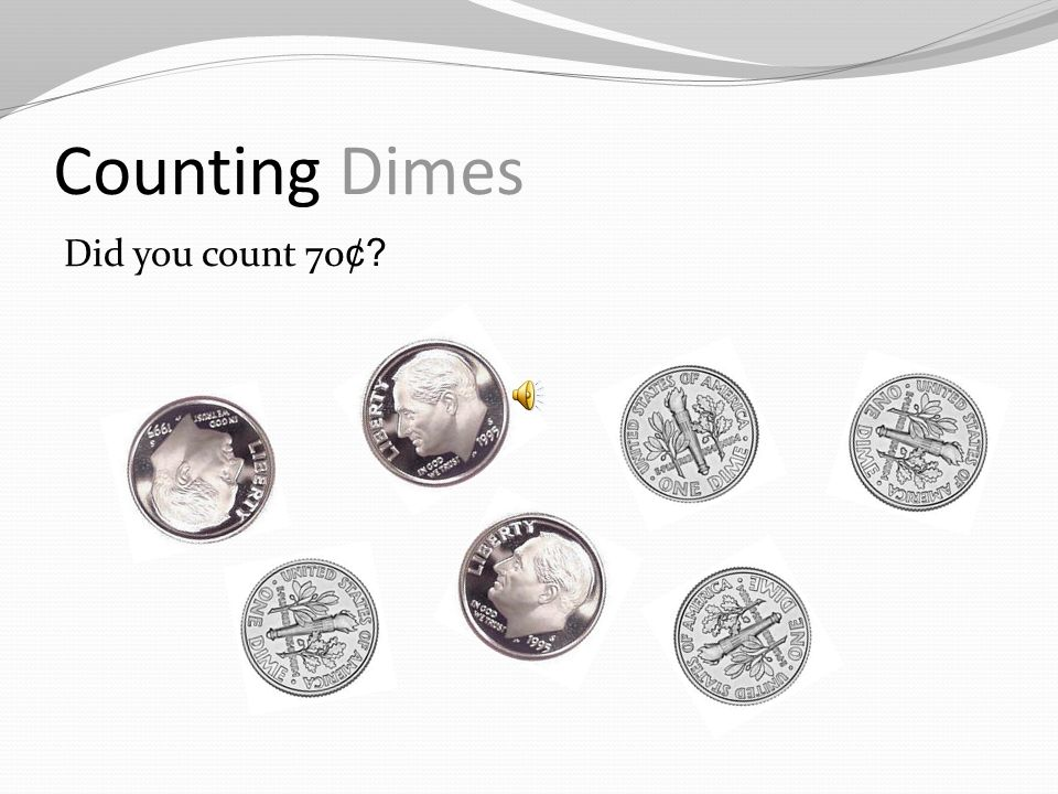 Counting Dimes We count dimes by 10s. Count these dimes.