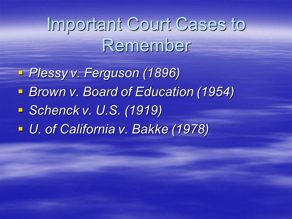 Important Court Cases to Remember Plessy v. Ferguson (1896) Plessy v. Ferguson (1896) Brown v. Board of Education (1954) Brown v. Board of Education (