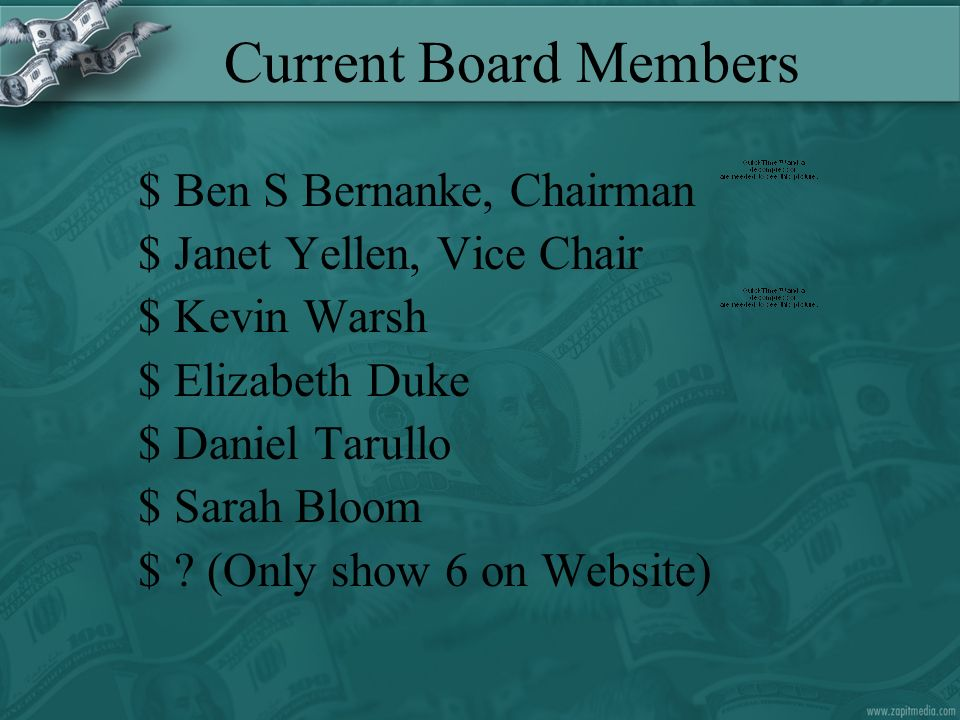 Current Board Members $Ben S Bernanke, Chairman $Janet Yellen, Vice Chair $Kevin Warsh $Elizabeth Duke $Daniel Tarullo $Sarah Bloom $.