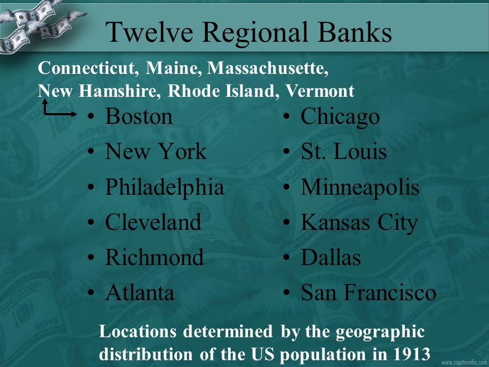 Twelve Regional Banks Boston New York Philadelphia Cleveland Richmond Atlanta Chicago St.