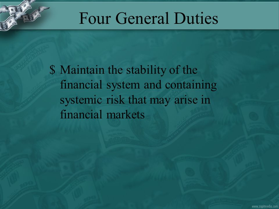 Four General Duties $Maintain the stability of the financial system and containing systemic risk that may arise in financial markets
