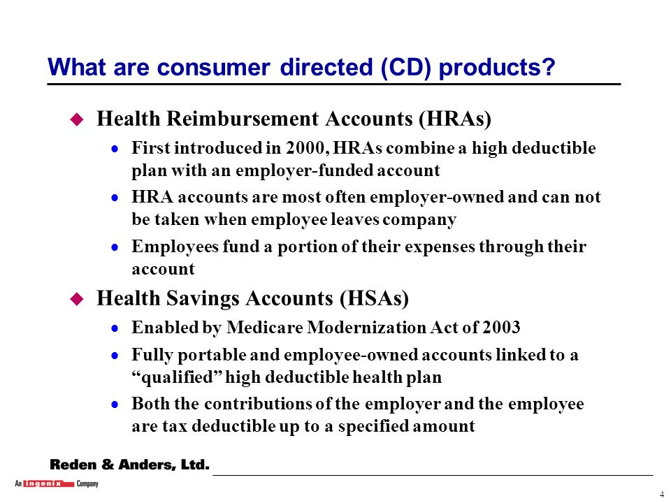 4 What are consumer directed (CD) products.