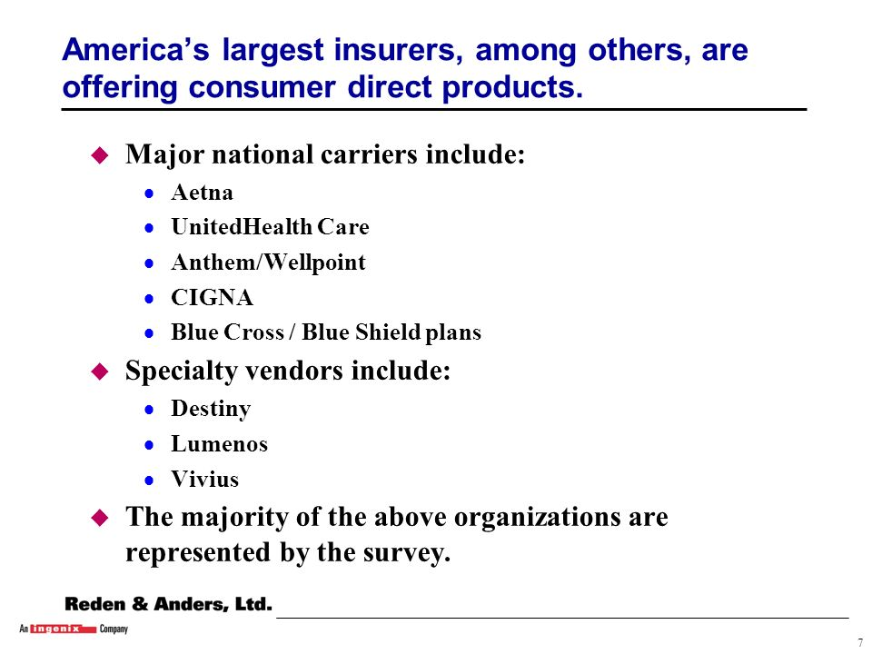 7 Americas largest insurers, among others, are offering consumer direct products.