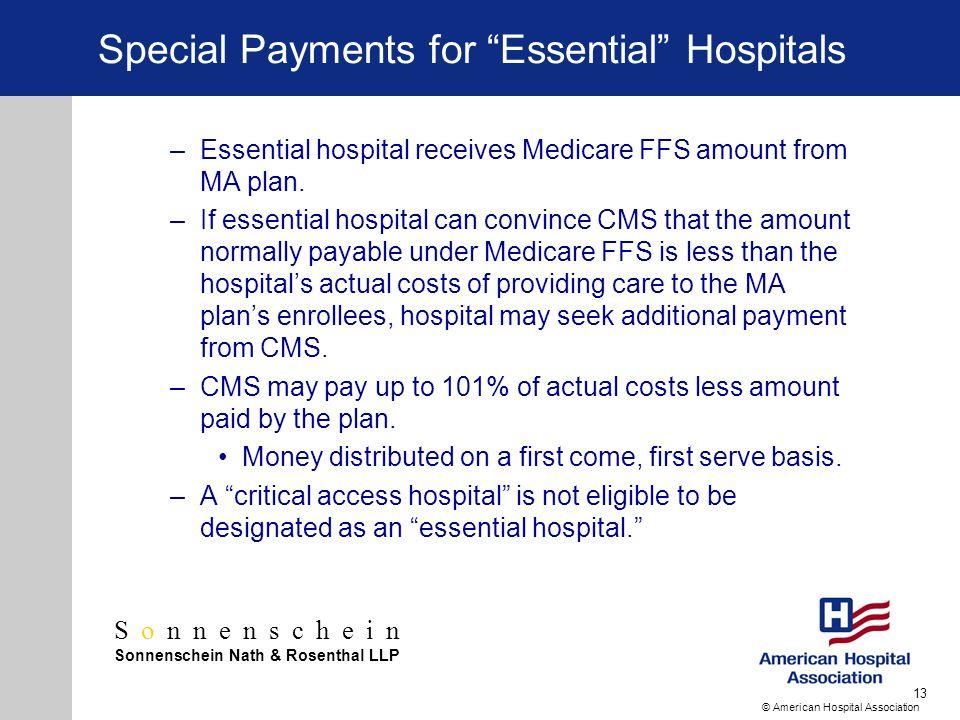 Sonnenschein Sonnenschein Nath & Rosenthal LLP © American Hospital Association 13 Special Payments for Essential Hospitals –Essential hospital receive