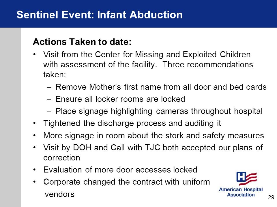 Actions Taken to date: Visit from the Center for Missing and Exploited Children with assessment of the facility. Three recommendations taken: –Remove