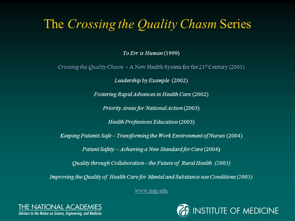 The Crossing the Quality Chasm Series To Err is Human (1999) Crossing the Quality Chasm - A New Health System for the 21 st Century (2001) Leadership by Example (2002) Fostering Rapid Advances in Health Care (2002) Priority Areas for National Action (2003) Health Professions Education (2003) Keeping Patients Safe – Transforming the Work Environment of Nurses (2004) Patient Safety – Achieving a New Standard for Care (2004) Quality through Collaboration – the Future of Rural Health (2005) Improving the Quality of Health Care for Mental and Substance-use Conditions (2005) www.nap.edu