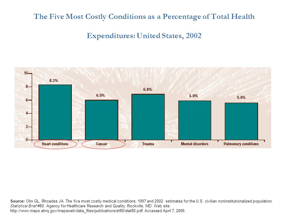 Source: Olin GL, Rhoades JA. The five most costly medical conditions, 1997 and 2002: estimates for the U.S. civilian noninstitutionalized population.