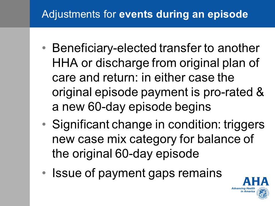 Adjustments for events during an episode Beneficiary-elected transfer to another HHA or discharge from original plan of care and return: in either cas
