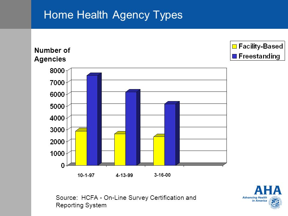 Home Health Agency Types 10-1-974-13-99 3-16-00 Number of Agencies Source: HCFA - On-Line Survey Certification and Reporting System