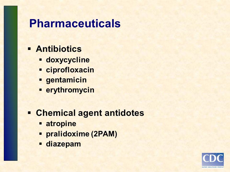 Pharmaceuticals Antibiotics doxycycline ciprofloxacin gentamicin erythromycin Chemical agent antidotes atropine pralidoxime (2PAM) diazepam