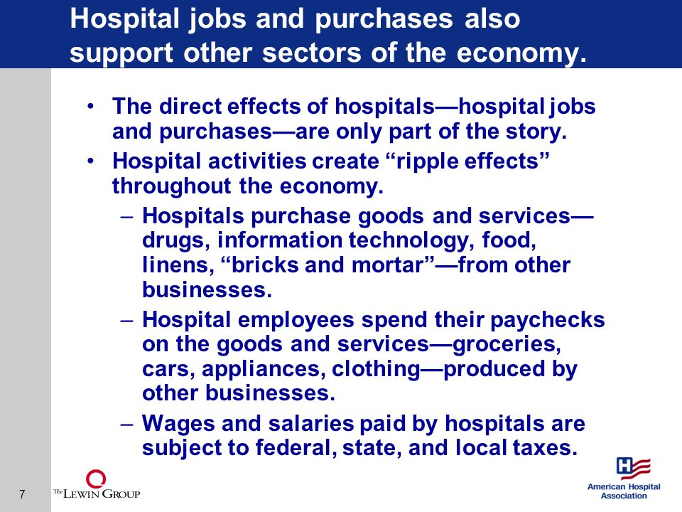 8 With ripple effects included, hospitals support more than 15 million jobs.