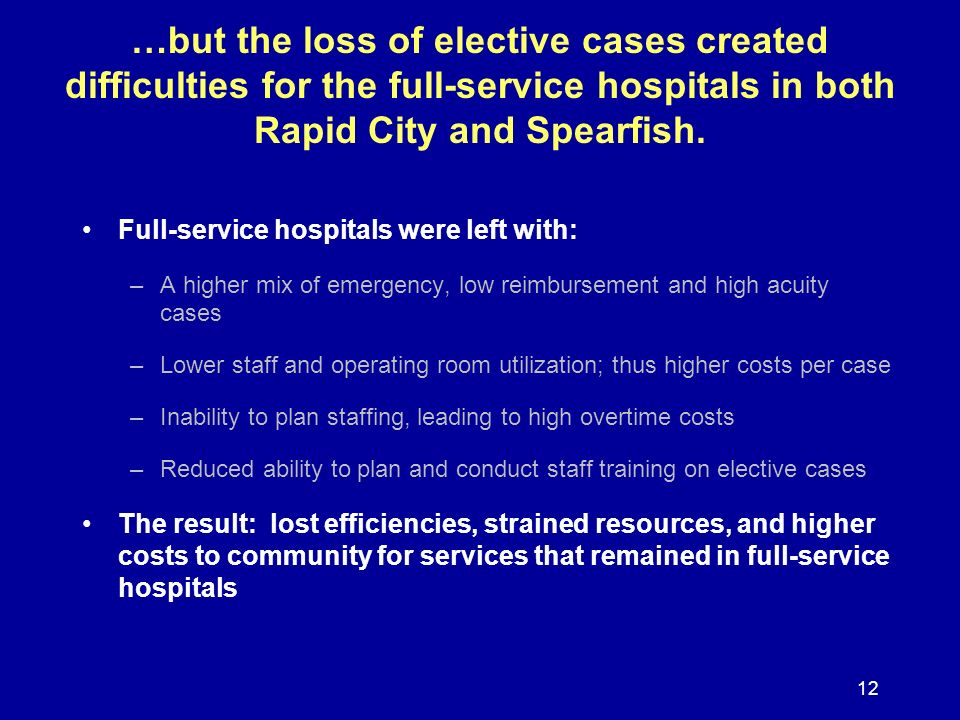 12 …but the loss of elective cases created difficulties for the full-service hospitals in both Rapid City and Spearfish. Full-service hospitals were l