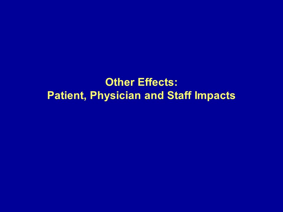 Other Effects: Patient, Physician and Staff Impacts