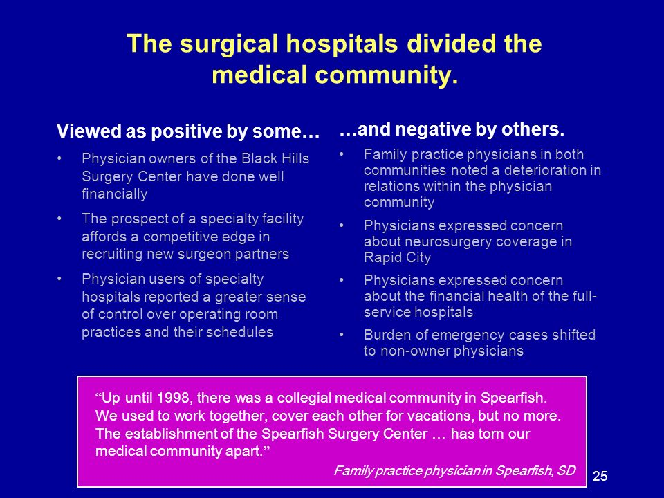 25 The surgical hospitals divided the medical community. Viewed as positive by some… Physician owners of the Black Hills Surgery Center have done well