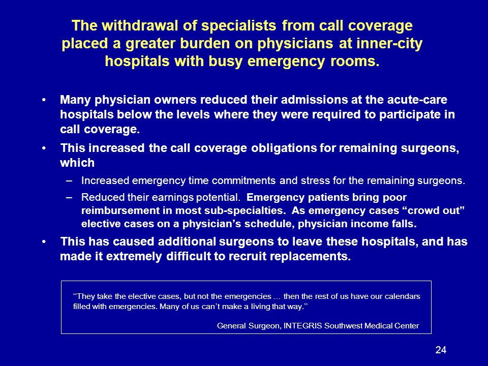 24 The withdrawal of specialists from call coverage placed a greater burden on physicians at inner-city hospitals with busy emergency rooms. Many phys