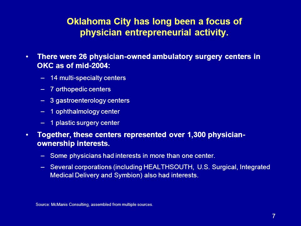 8 Seven new physician-owned limited-service hospitals opened in Oklahoma City between 1994 and 2005.