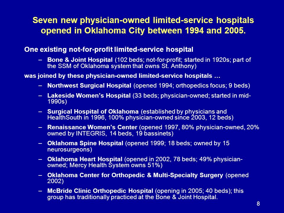 8 Seven new physician-owned limited-service hospitals opened in Oklahoma City between 1994 and 2005. One existing not-for-profit limited-service hospi