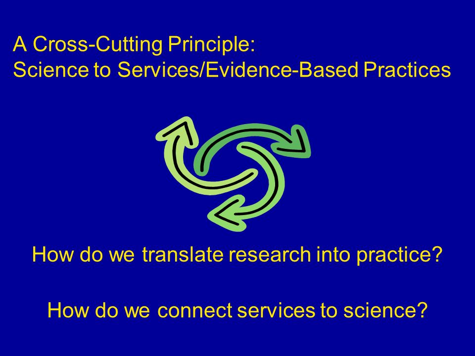 A Cross-Cutting Principle: Science to Services/Evidence-Based Practices How do we translate research into practice? How do we connect services to scie