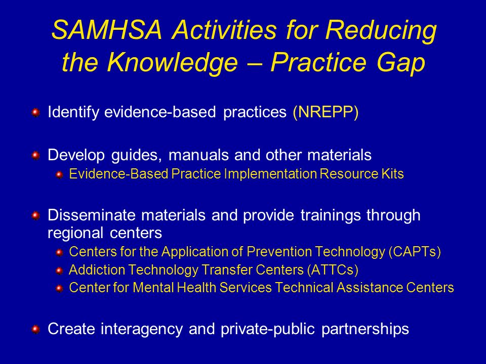 Identify evidence-based practices (NREPP) Develop guides, manuals and other materials Evidence-Based Practice Implementation Resource Kits Disseminate