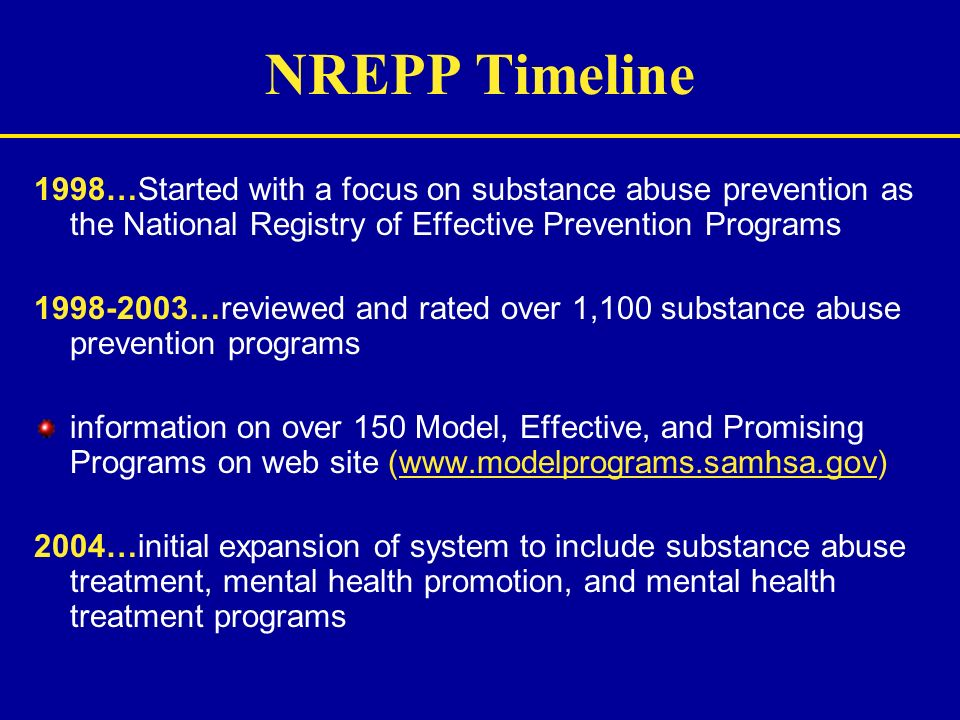 NREPP Timeline 1998…Started with a focus on substance abuse prevention as the National Registry of Effective Prevention Programs 1998-2003…reviewed an
