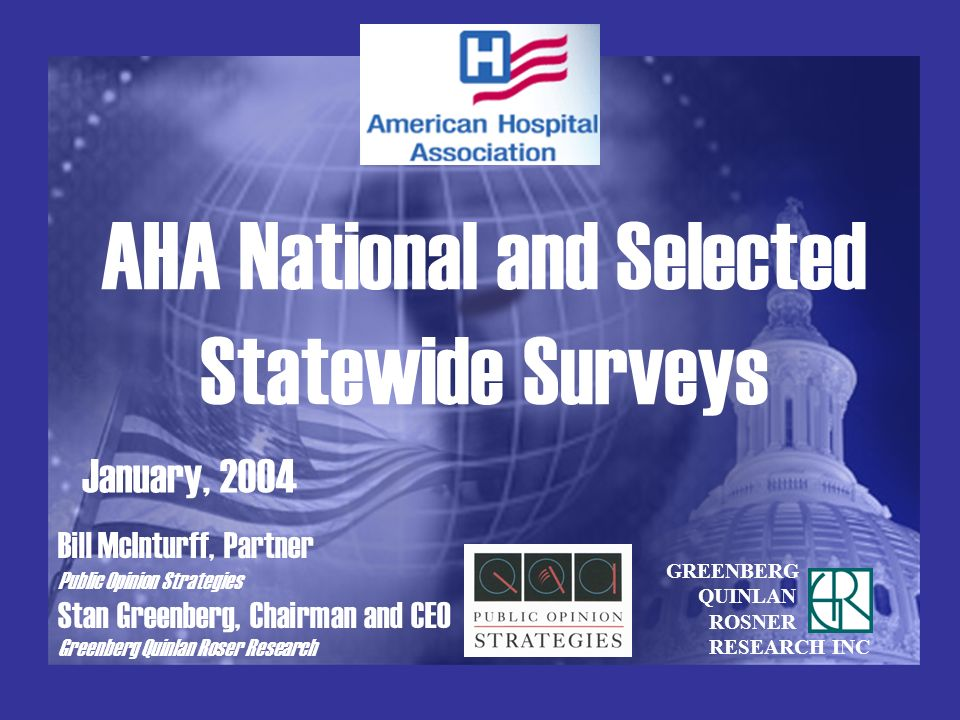 AHA National and Selected Statewide Surveys January, 2004 GREENBERG QUINLAN ROSNER RESEARCH INC Bill McInturff, Partner Public Opinion Strategies Stan Greenberg, Chairman and CEO Greenberg Quinlan Roser Research