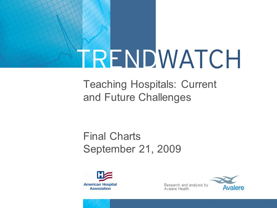 Research and analysis by Avalere Health Teaching Hospitals: Current and Future Challenges Final Charts September 21, 2009