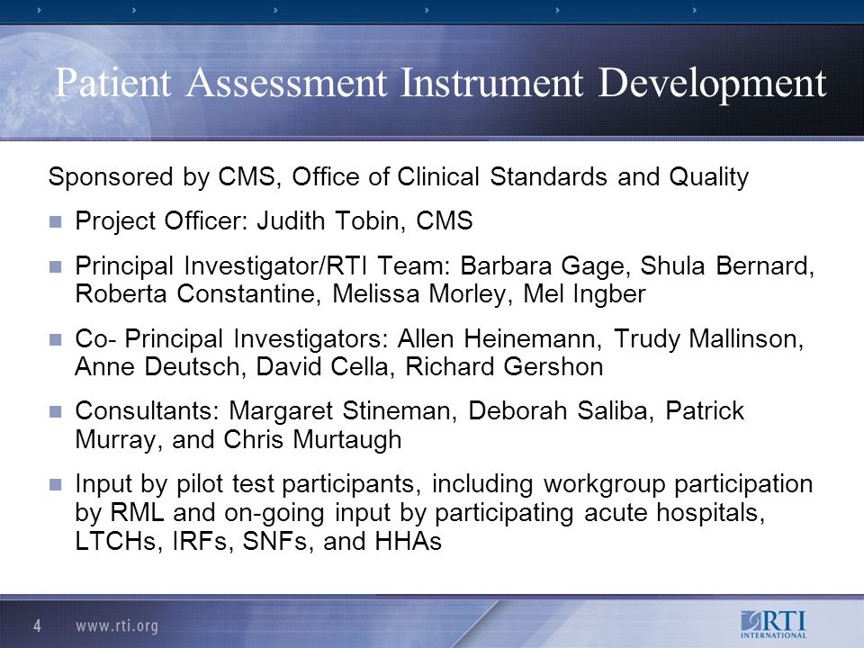 5 Project Overview Year 1: Gain input from the providers/research community Open Door Forums Tool development based on existing assessment tools Technical Expert Panels (March/April) 2 Pilot Tests: 1 market (April/May) Small Group meetings (Summer 2007) Draft report to CMS (Fall 2007) Assist developers of web-based data submission system at CMS for direct submission to CMS or thru vendors