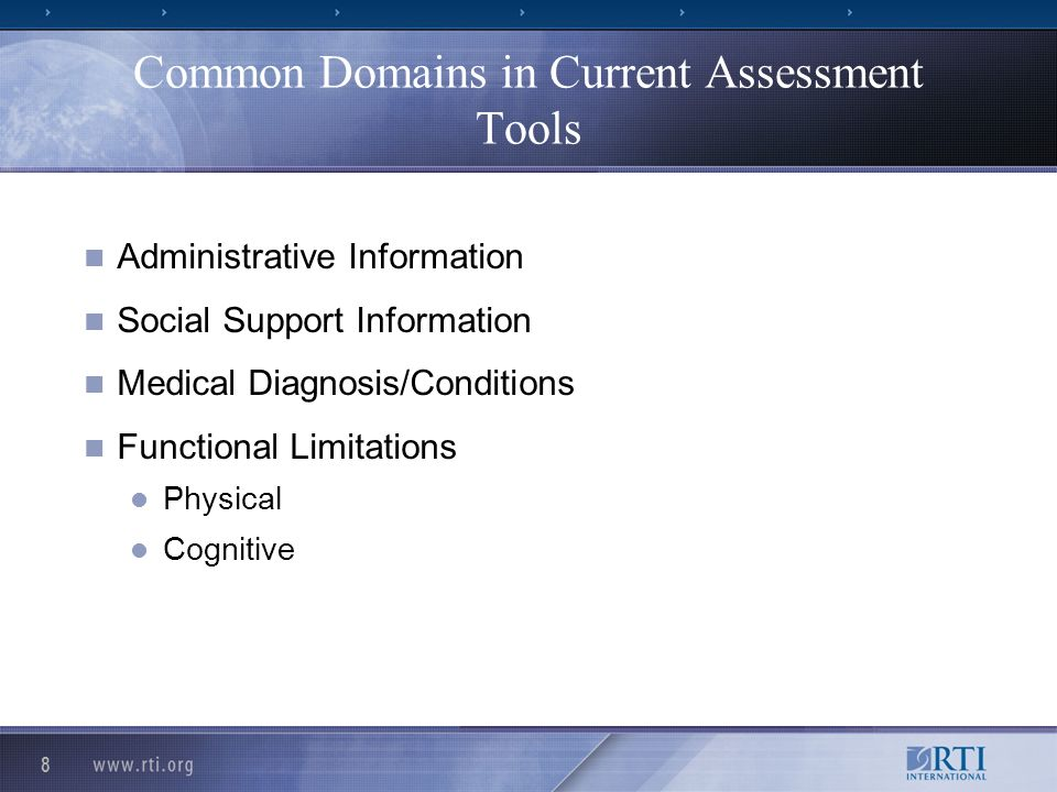 19 Master CARE Tool Published in the Federal Register July 27, 2007 Includes both core and supplemental items so you can follow skip patterns Associated item matrix identifies the core and supplemental items in a comprehensive table Based on current assessment tools in each of the 5 types of settings