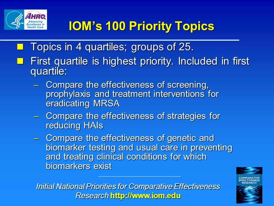 IOMs 100 Priority Topics Topics in 4 quartiles; groups of 25. Topics in 4 quartiles; groups of 25. First quartile is highest priority. Included in fir