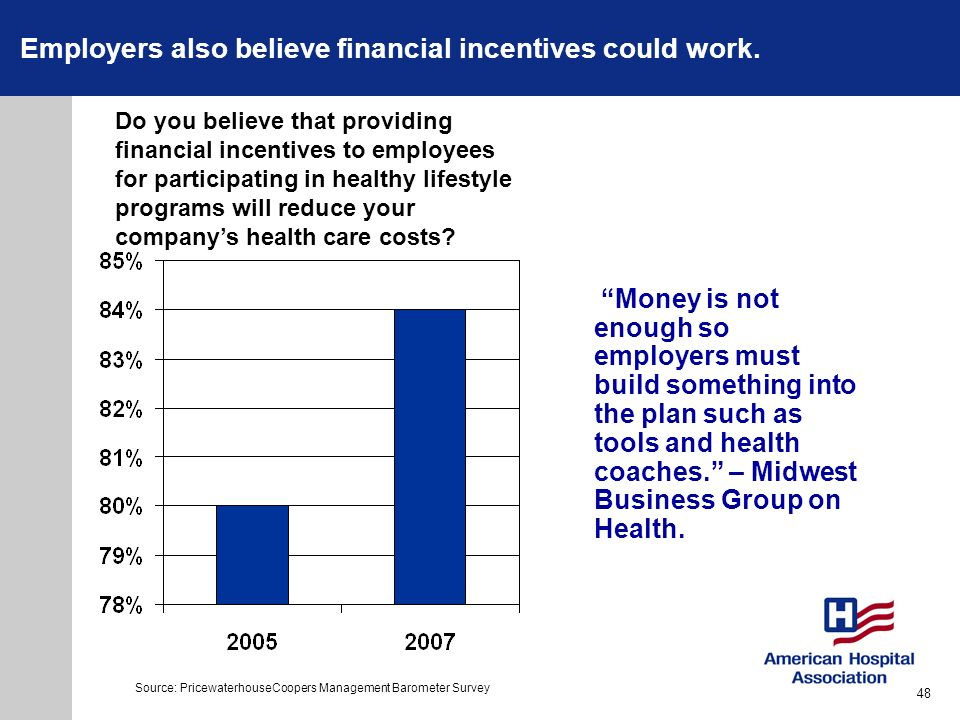 Employers also believe financial incentives could work. Money is not enough so employers must build something into the plan such as tools and health c