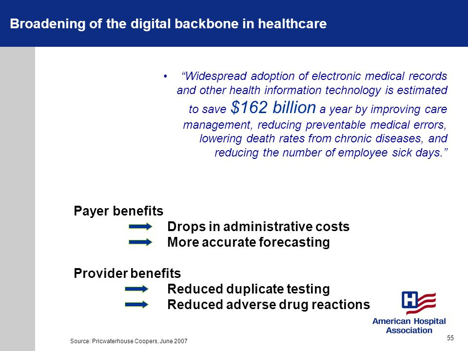 Broadening of the digital backbone in healthcare Widespread adoption of electronic medical records and other health information technology is estimate