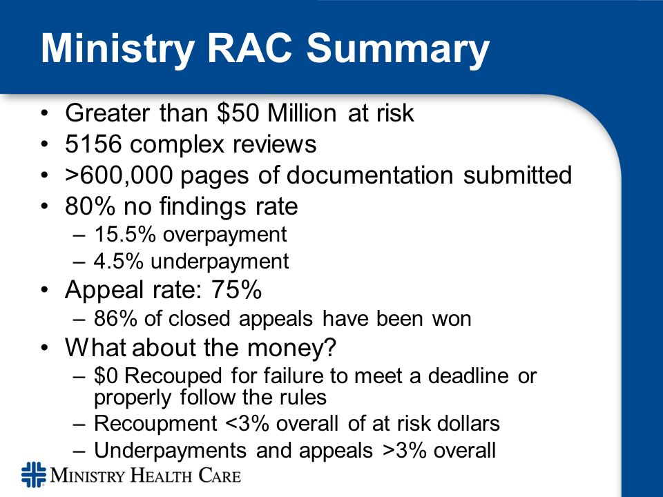 Ministry RAC Summary Greater than $50 Million at risk 5156 complex reviews >600,000 pages of documentation submitted 80% no findings rate –15.5% overpayment –4.5% underpayment Appeal rate: 75% –86% of closed appeals have been won What about the money.