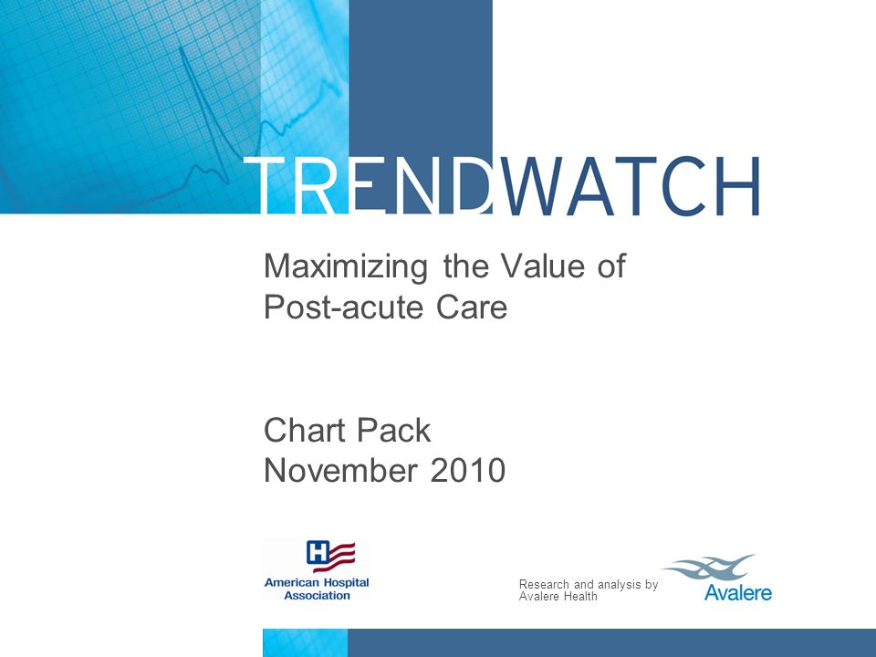 Research and analysis by Avalere Health Maximizing the Value of Post-acute Care Chart Pack November 2010