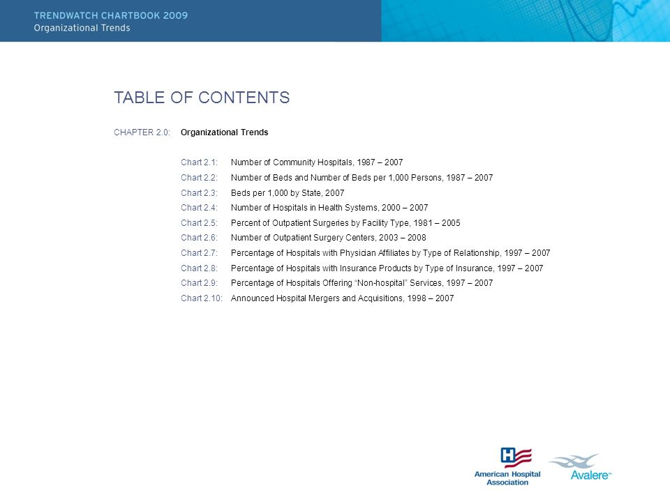 TABLE OF CONTENTS CHAPTER 2.0: Organizational Trends Chart 2.1: Number of Community Hospitals, 1987 – 2007 Chart 2.2: Number of Beds and Number of Bed